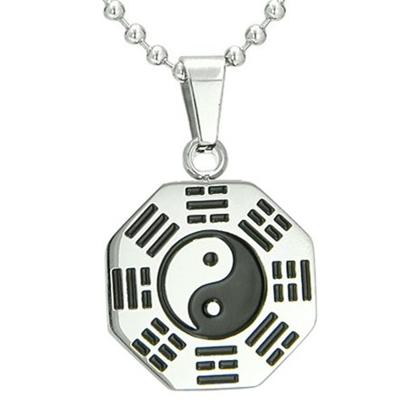 Yin Amulet Pendant (Amulet Yin Yang BA GUA Eight Trigrams Steel Lucky Charm Pendant Necklace Pendant 18 Inch)