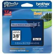 Brother Label Tape Cartridge, Label Type Indoor/Outdoor Black/Clear PET TZe121