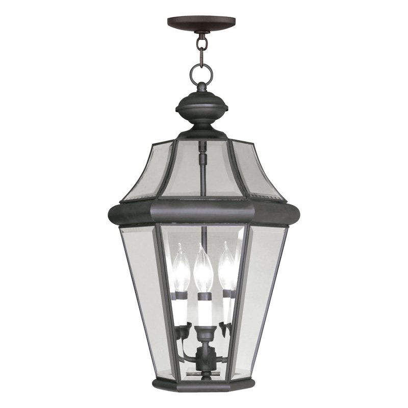 Livex Georgetown 2365-04 Outdoor Hanging Lantern - Black - 13W in.