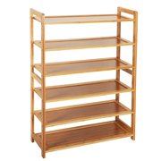 Bamboo 6 Tier Shoes Rack, Space Saving Shoe Storage Organizer, Home Storage Shelves for Shoes, Books & Flowerpots, Entryway Free Standing Shelves for Kitchen Living Room Closet, Wood Color, W5105