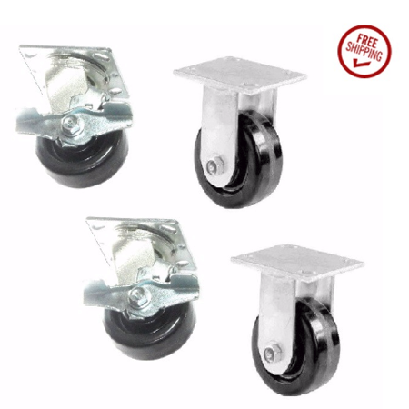 - Set of 4 Toolbox Phenolic Wheel Casters w/ 4
