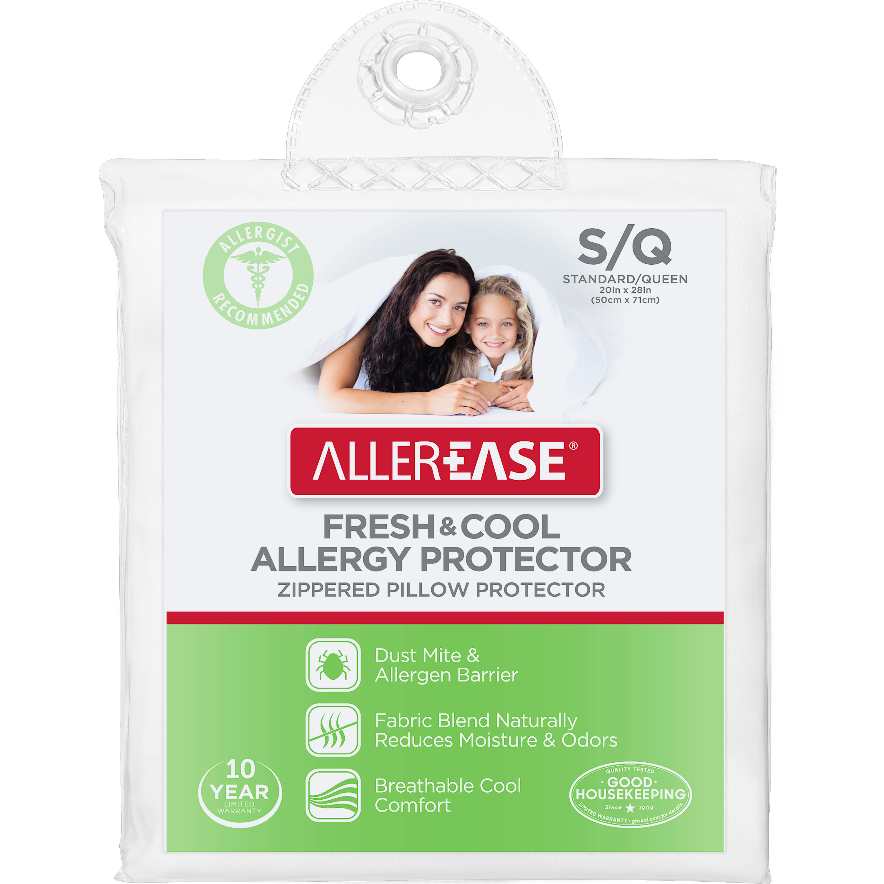 AllerEase Fresh & Cool Allergy Protection Zippered Pillow Cover, Standard/Queen
