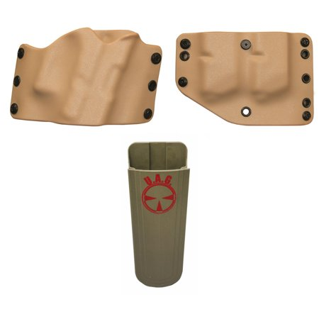 Phalanx Defense Stealth WALTHER PPQ LONG SLIDE Holster Multi-Fit OWB Belt  Righty, Tan + Twin Double Stack Magazine Holder + Ultimate Arms Gear