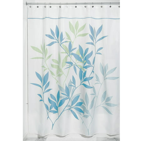 InterDesign Leaves Fabric Shower Curtain, Standard 72u0022 x 72u0022, Soft Blue/Green