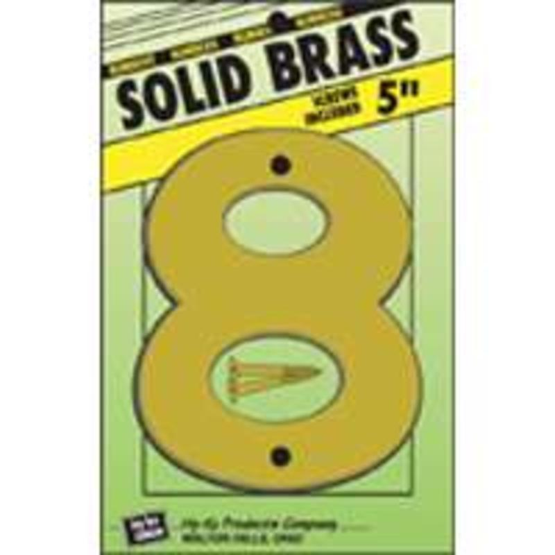 Number House 8 4-3/4In 8In 5In Hy-Ko Products Brass Letters & Numbers BR-50/8
