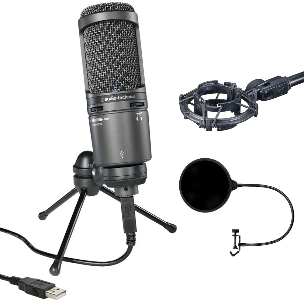 Audio-Technica Deluxe USB Cardioid Condenser Microphone (AT2020USB+) with Audio-Technica... by Audio-Technica