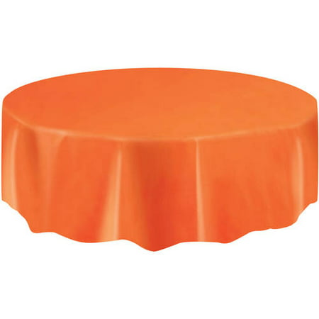 (2 pack) Plastic Round Tablecloth, 84 in, Orange, 1ct - Round Plastic Table Cloths