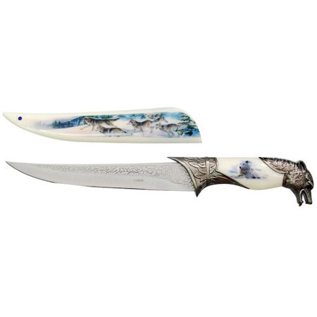 - 14 Inch Ornamental Wolf Dagger Decorative Collectors Knife Outdoor Hunting
