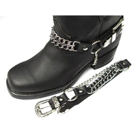 A To Cowhide Boots (Biker Boots Boot Chains: Black Topgrain Cowhide Leather, 2 Steel Chains)
