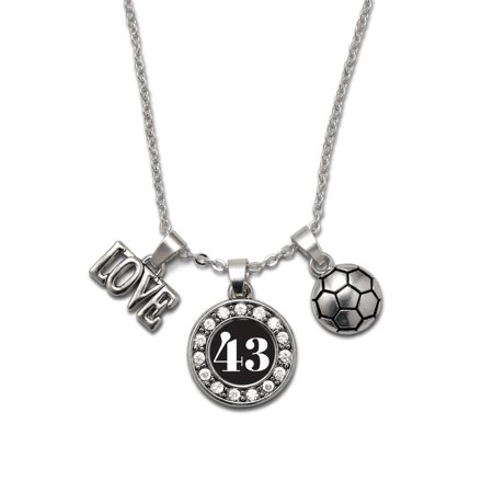 My Sports Number Circle Charm Soccer Necklace- Number - Soccer Necklaces With Number