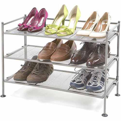 Seville Classics 3-Tier Mesh Utility Shoe Rack, SHE99905