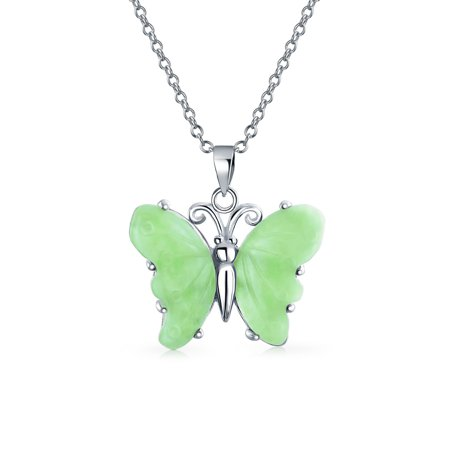 Butterfly 5CTW Carved Dyed Light Green Jade Pendant 925 Sterling Silver Garden Necklace For Women Girlfriend With Chain