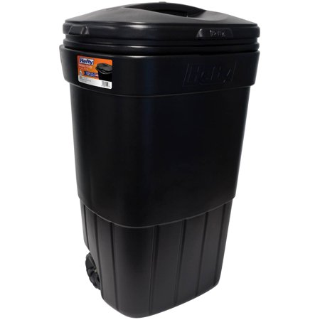 Outdoor Trash Can With Wheels Magnificent Hefty 60Gallon Wheeled Outdoor Trash Can Black Walmart
