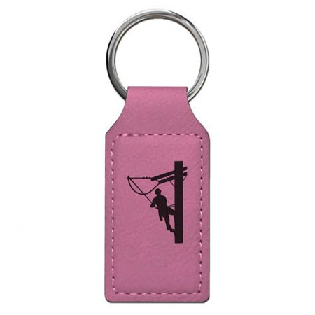 Keychain - Lineman - Personalized Engraving Included (Pink Rectangle)