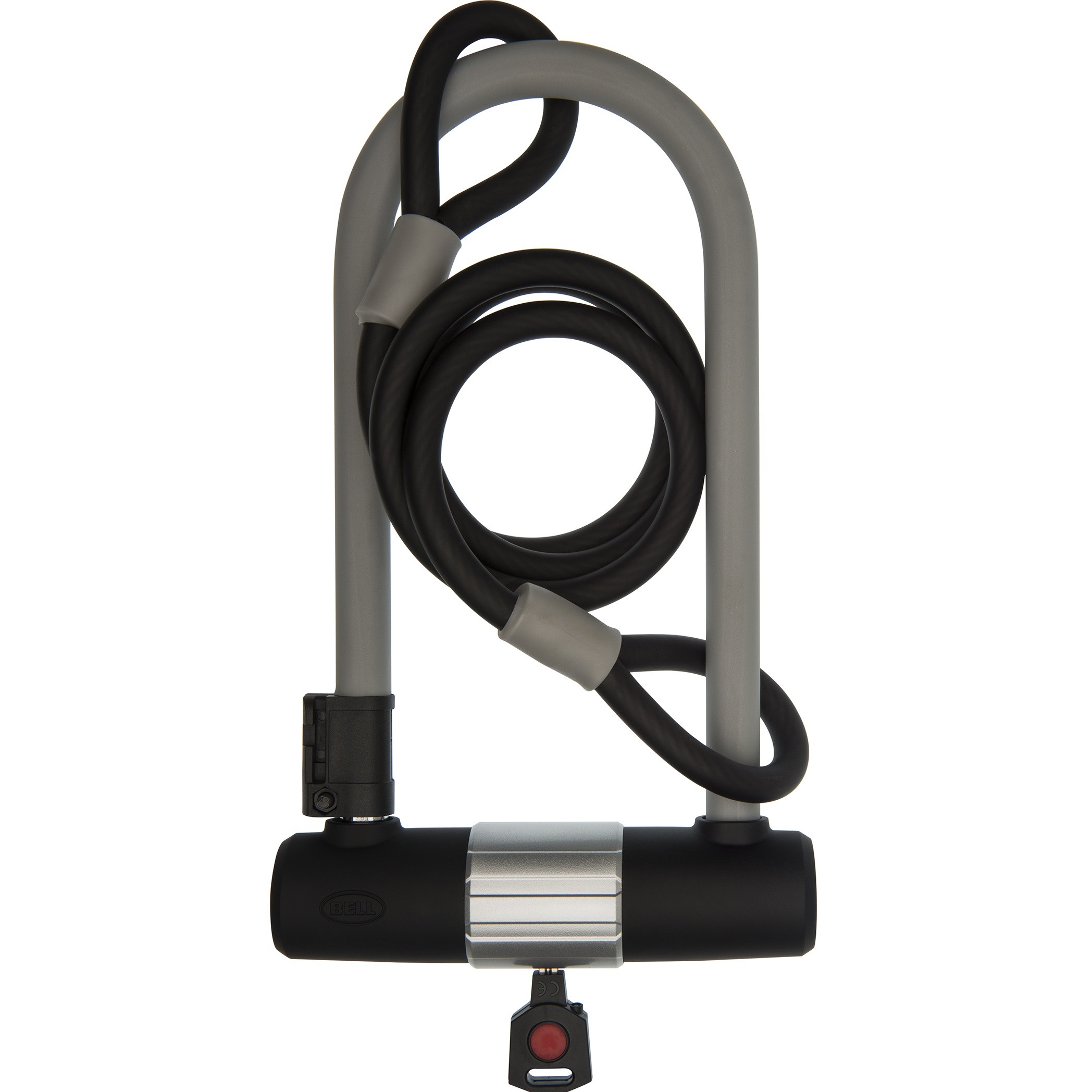 """Bell Sports Catalyst 550 Premium 9.25"""" U-Lock with 4' Cable Bicycle Lock Set, Security Level 5, Gray"""
