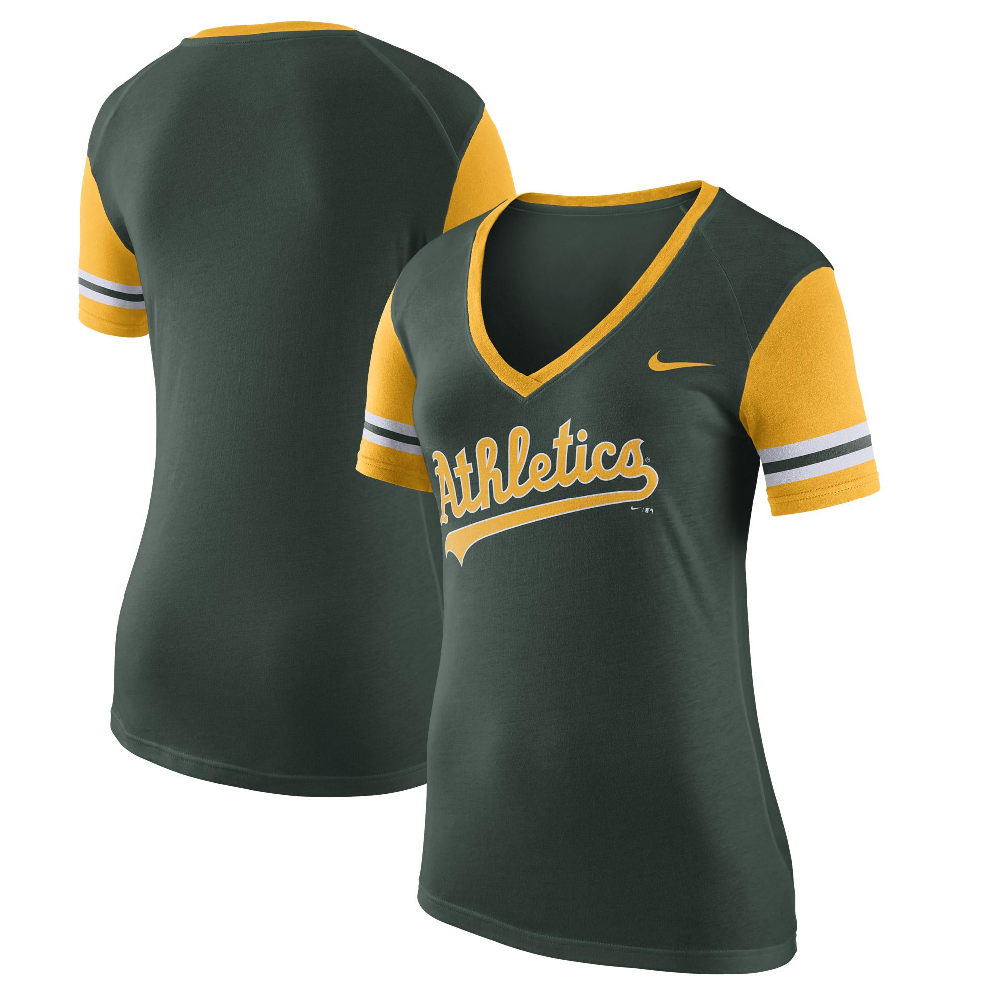 Oakland Athletics Nike Women's Wordmark Colorblock V-Neck T-Shirt - Green
