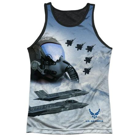 US Armed Forces Air Force Pilots Strike Mode Adult Black Back Tank Top Shirt Us Air Force Laser