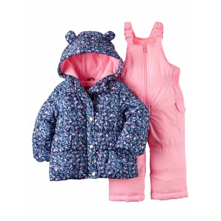 78c572d6e Carters Infant Girls 2 Pc Snow Bibs & Winter Coat Set Blue Floral Snowsuit  12m - Walmart.com
