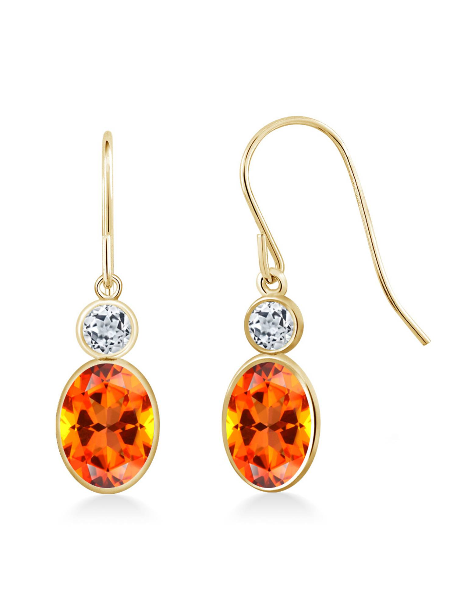 14K Yellow Gold Earrings Topaz Set with Oval Poppy Topaz from Swarovski by