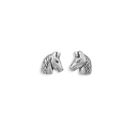 Horse Head Stud Antique Finish Sterling Silver Earrings (Sterling Silver Earrings Antique)