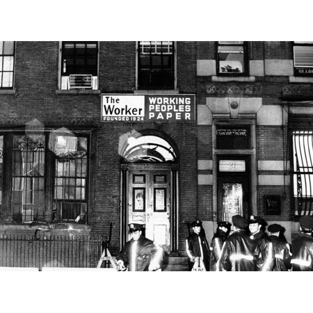 Communist Party Headquarters In New York City Police At The Daily Worker And Communist Party Building After An Explosion Which Shattered Its Windows And Caused Considerable Damage On Nearby Buildings - Party City Headquarters