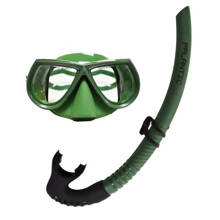 Palantic Green Free Dive Spearfishing Low Volume Mask & Flexible Snorkel -