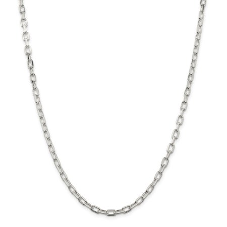 Mia Diamonds Solid 925 Sterling Silver Rhodium-Plated Diamond-cut Open Link Cable Chain