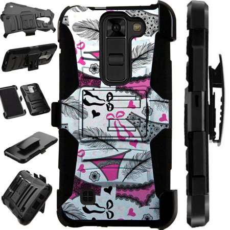 For LG K8V (Verizon Only) VS500 Case Heavy Duty Hybrid Armor Dual Layer Cover Kick Stand Rugged LuxGuard Holster (Feather Panties)