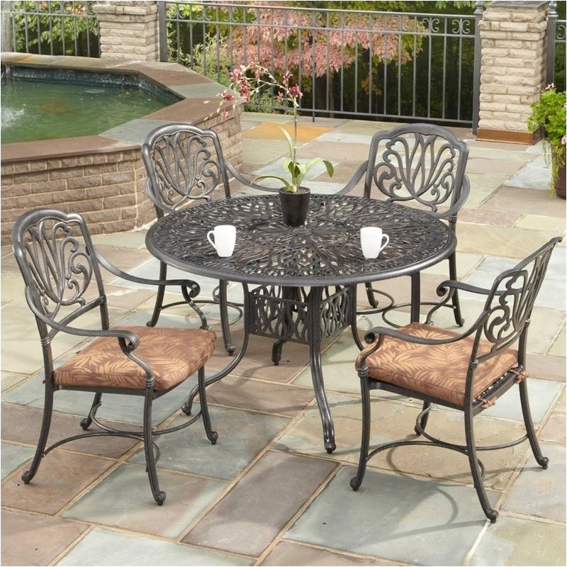 """Hawthorne Collections 42"""" 5 Piece Metal Patio Dining Set"""