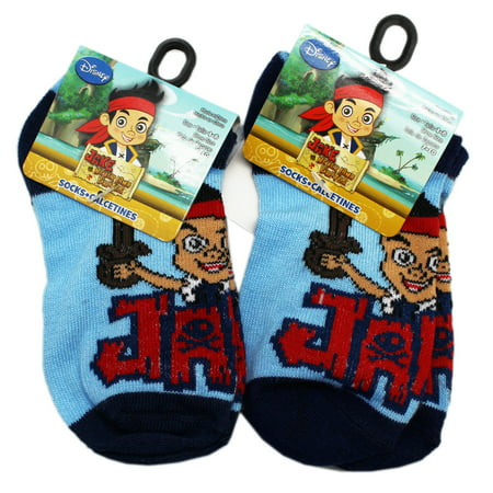 s and the Never Land Pirates Kids Blue Colored Socks (2 Pairs, Size 4-6) - Pirate Socks