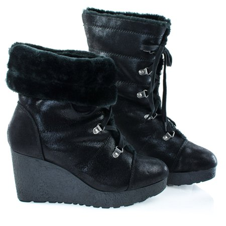 Faux Snow (#Crepe07 by Bamboo, Black Women Military Lace Up Faux Fur Lining Winter Snow Boots, Wedge Lug)