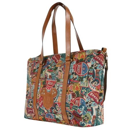 Disney Vintage Mickey Pattern All Purpose Shoulder Bag Large Shopper Handbag