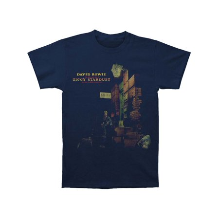 David Bowie Men's  Ziggy In The Street Slim Fit T-shirt Navy Sueded Bowie Ziggy Phone Booth T-shirt