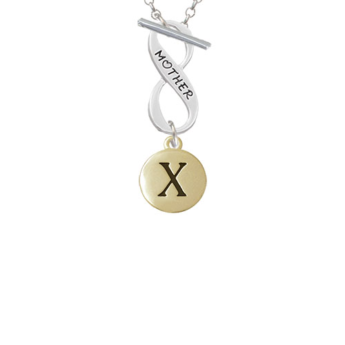 Capital Gold Tone Letter - X - Pebble Disc - Mother Infinity Toggle Chain Necklace
