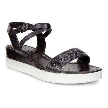 b6f47168c ECCO - Women s ECCO Touch Braided Plateau Ankle Strap Sandal Black Cow  Nubuck 38 M - Walmart.com