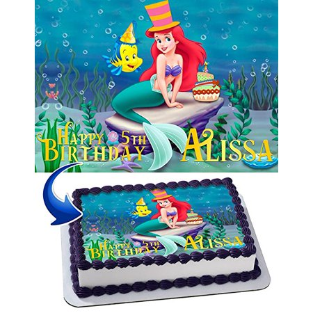 The Little Mermaid Birthday Cake Personalized Cake Toppers Edible Frosting Photo Icing Sugar Paper A4 Sheet 1/4 Edible Image for cake - The Band Cake