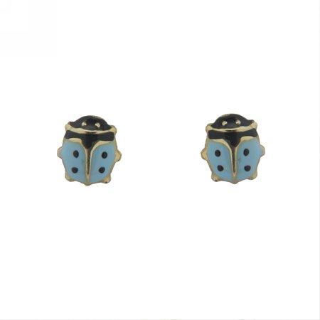 18k Yellow Gold Aqua Enamel Lady Bug Earrings with covered screwbacks (6mm)