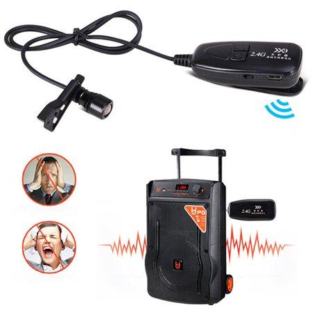 2.4G Wireless Lavalier Microphone with Voice Amplifier for Teachers Louder Speaker PA System Karaoke