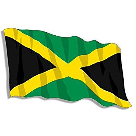 JAMAICA Waving Flag Shaped Sticker Decal (kingston caribbean jamaican) 3 x 5 -