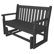 """47.5"""" Recycled Earth-Friendly Outdoor Patio Garden Glider Bench - Slate Gray"""