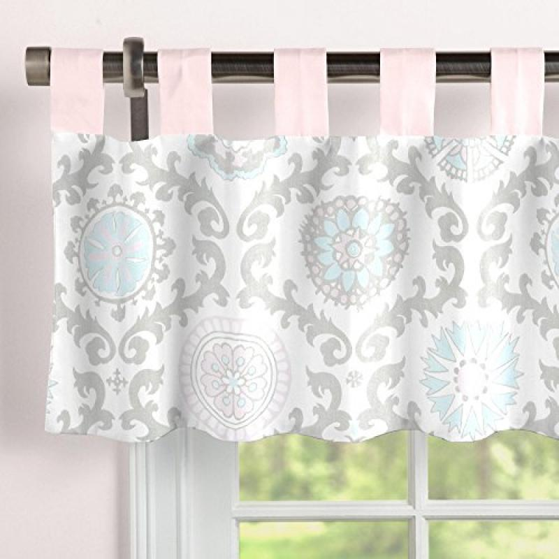 Carousel Designs Pink and Gray Rosa Window Valance Tab-Top by Carousel Designs