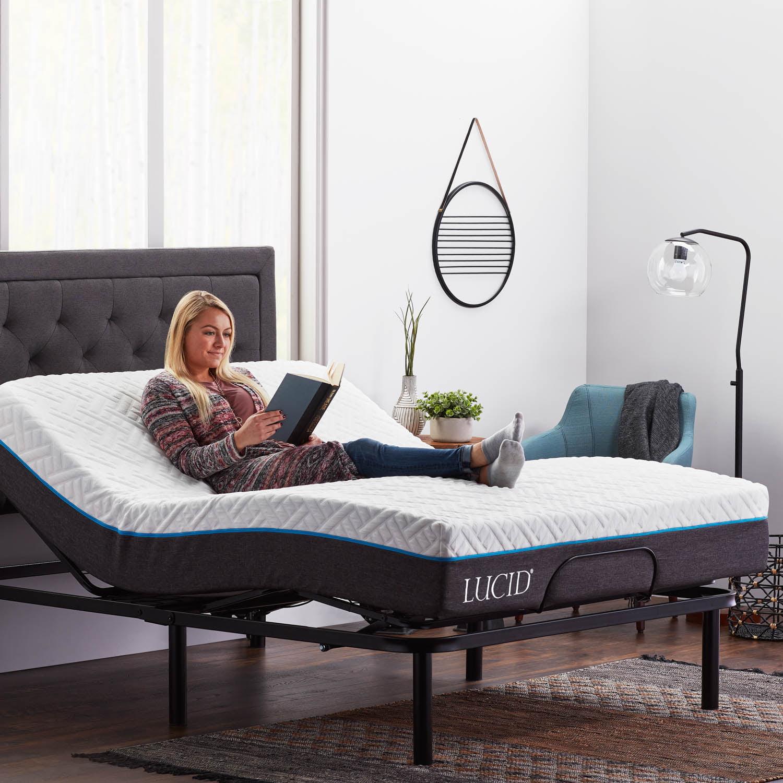 Lucid Basic Remote Controlled Adjustable Bed Base Heavy Duty Steel Multi Position Queen Walmart Com Walmart Com
