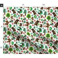 Deer Reindeer Christmas Holidays Tree Trees Fabric Printed by Spoonflower BTY