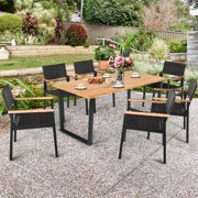 Gymax 7PCS Patio Garden Dining Set Outdoor Dining Furniture Set w/ Umbrella Hole