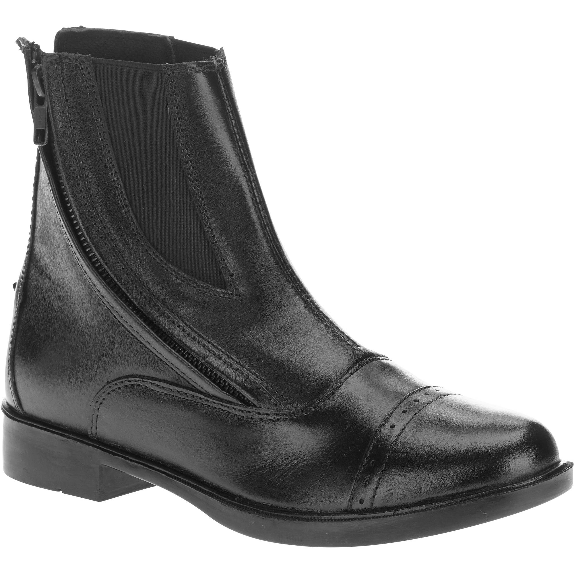 Daisy Clipper, by Huntley Equestrian, Chidlren's Black Side Zipper Leather Paddock Boots by