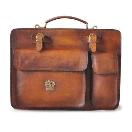 Pratesi Unisex Italian Leather Milano Large Business Briefcase in Cow Leather