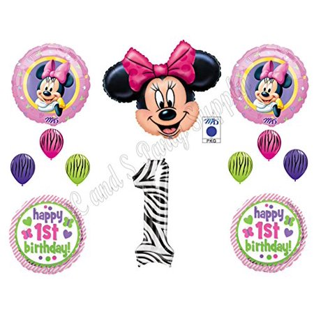 MINNIE MOUSE & Zebra 1st First BIRTHDAY PARTY Balloons Decorations Supplies