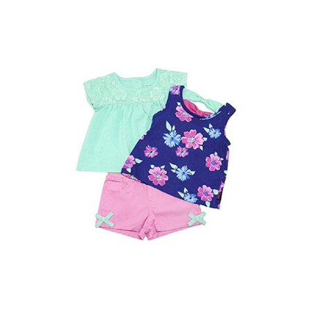 Oved Apparel Corp. Lee Baby Girls Size 18 Months Floral 3-Piece Short Set, Fuschia