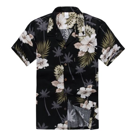 Black Floral Shirt - Hawaiian Shirt Aloha Shirt in Black Palm Floral
