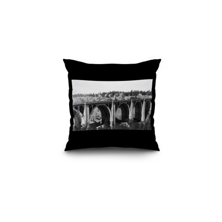 Spokane  Washington   Hangman Bridge  16X16 Spun Polyester Pillow  Black Border